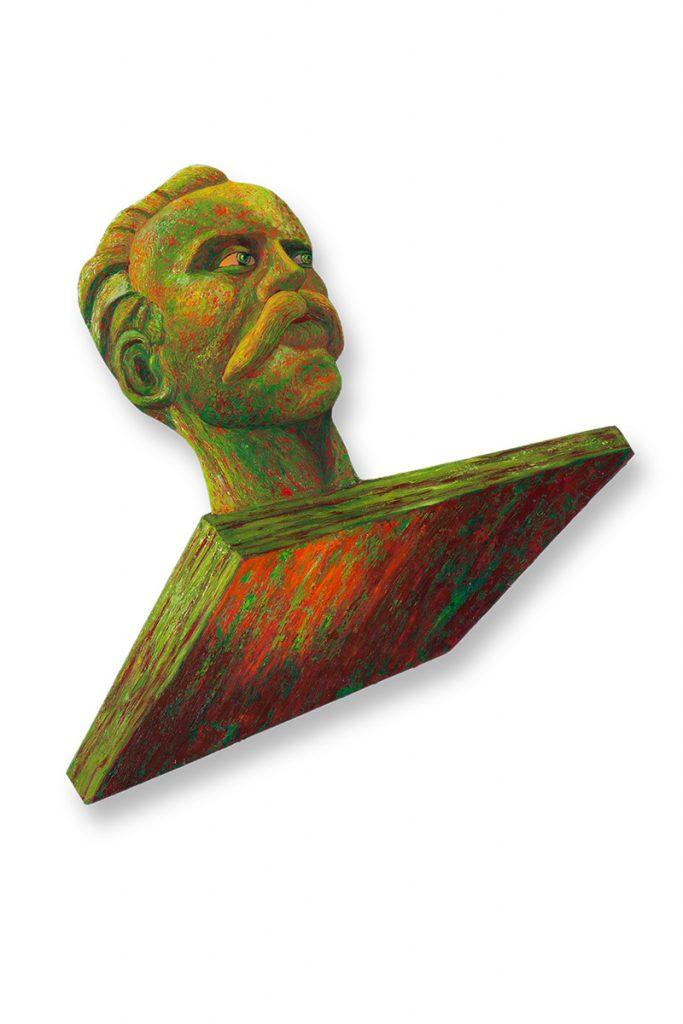 """Fierce Marti, acrylic on 2D shaped board approx 30"""" x 36"""""""