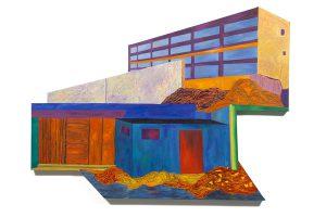 "Havana Street Scene, acrylic on canvas, 48"" x 66"" x 2.5"", Collection of Oakton Community College"