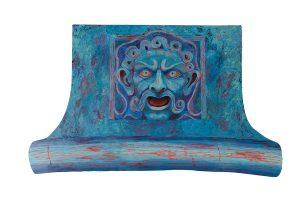 "Gargoyle at Ave Des Presidentes, acrylic on synthetic board, 28"" x 38"""