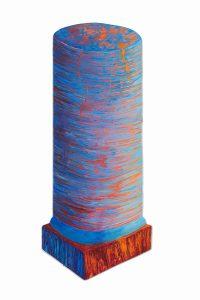 "Blue Column, acrylic on synthetic board, 34"" x 16"""