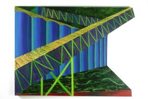 "Cement Plant, acrylic on canvas, 48"" x 64"""