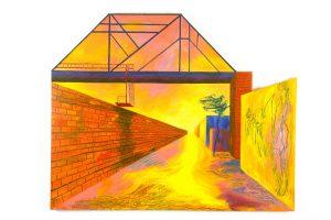 "Crossing, acrylic on canvas, 48"" x 60"" x 2.5"""