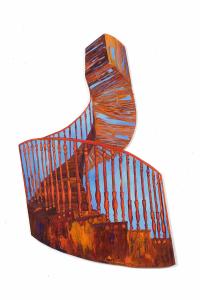"Cuban Staircase, acrylic on synthetic board, 46"" x 32"""