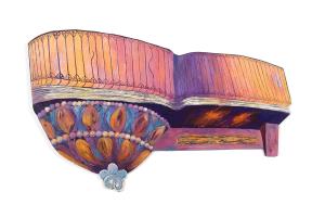 """Her Balcony, acrylic on synthetic board, 32"""" x 48"""""""