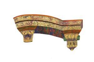 "Cuban Balcony Fragment, 2D shaped board, approx. 20"" x 30"", Collection of Ellen and John Wright"