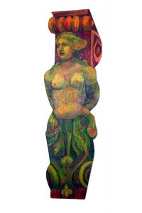 "Female Nice Caryatid, 2D shaped board, approx. 40"" x 15"""