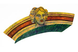 """Doorway Maiden, 2D shaped board, aprox. 30"""" x 40"""", Collection of David Terman"""