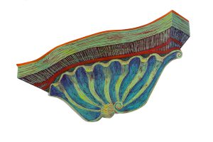 """Shell Decoration, 2D shaped board, 20"""" x 40"""""""