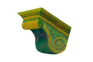 "Green Cornice, 2D shaped board, approx. 20"" x 16"""
