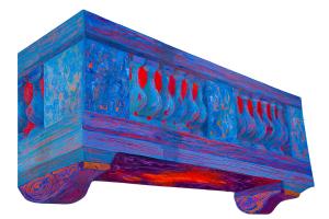 "Blue Balcony, acrylic on synthetic board, 48"" x 32"""