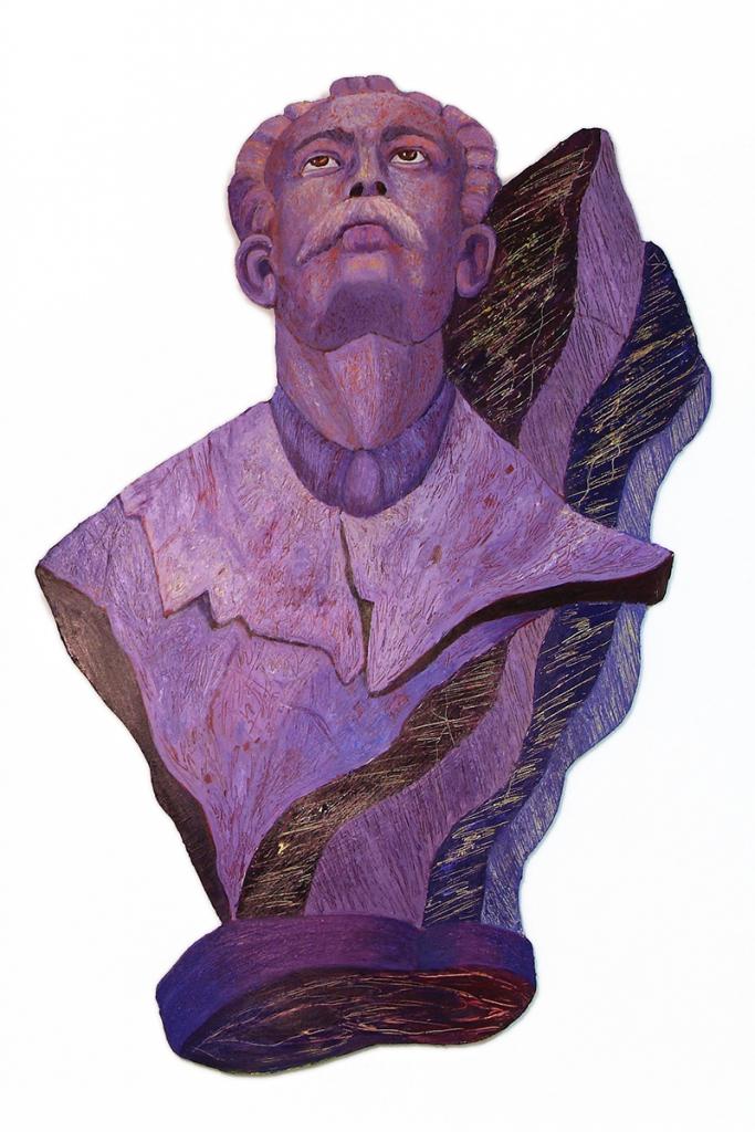 "Marti Seeking, acrylic on shaped board 47"" x 32"""