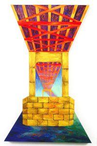 "Millennium Bridge, acrylic on canvas, 72"" x 48"", Private Collection"