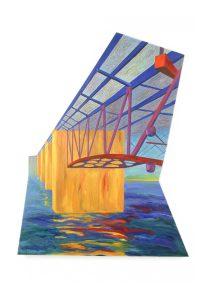 "Portland Bridge, acrylic on canvas, 66"" x 46"" x 2.5"""