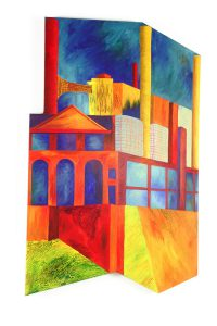 "St Louis Smoke Stacks, acrylic on canvas, 38"" x 26"", Private Collection"