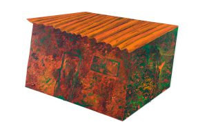 """Earth Shed, 2D shaped board, 14"""" x 20"""""""