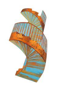 "Cuban Staircase, 2D shaped board, 46"" x 32"", © 2013"